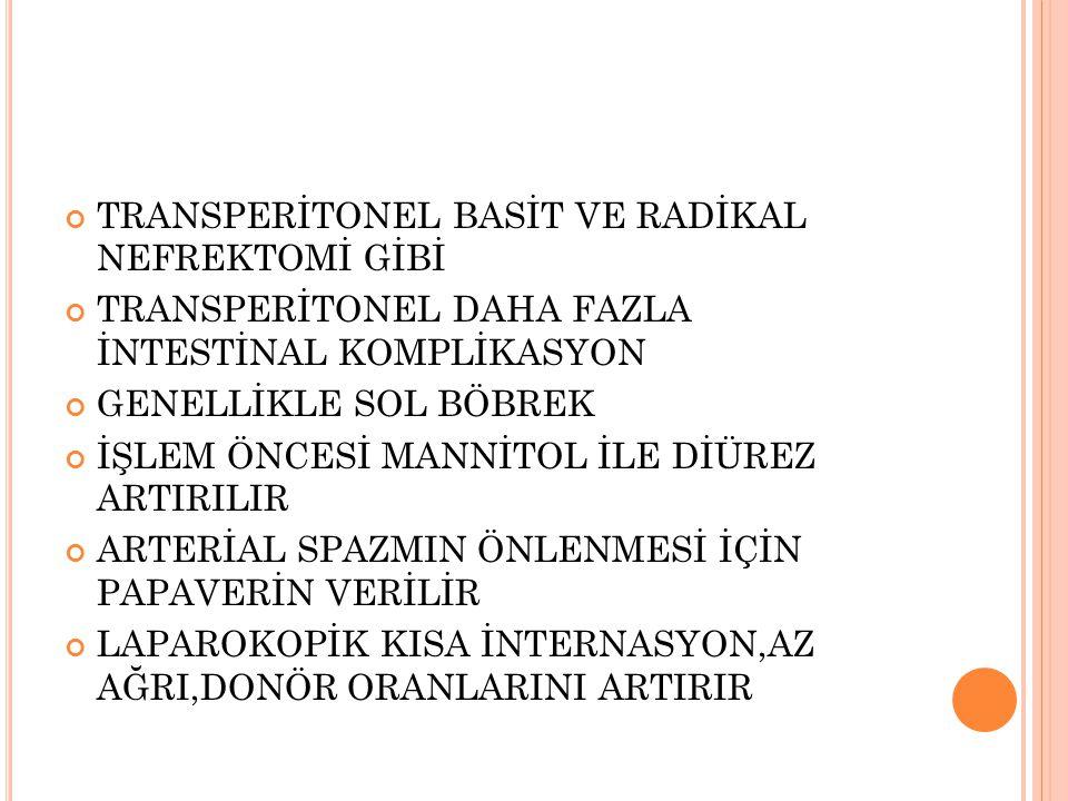 TRANSPERİTONEL BASİT VE RADİKAL NEFREKTOMİ GİBİ