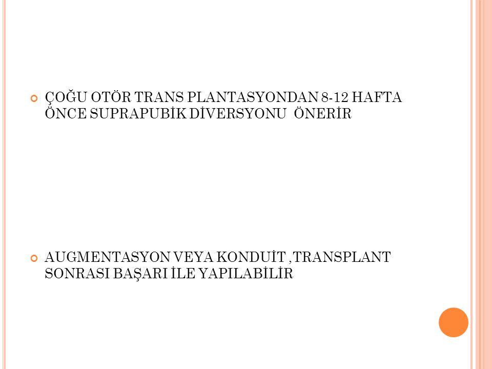 ÇOĞU OTÖR TRANS PLANTASYONDAN 8-12 HAFTA ÖNCE SUPRAPUBİK DİVERSYONU ÖNERİR