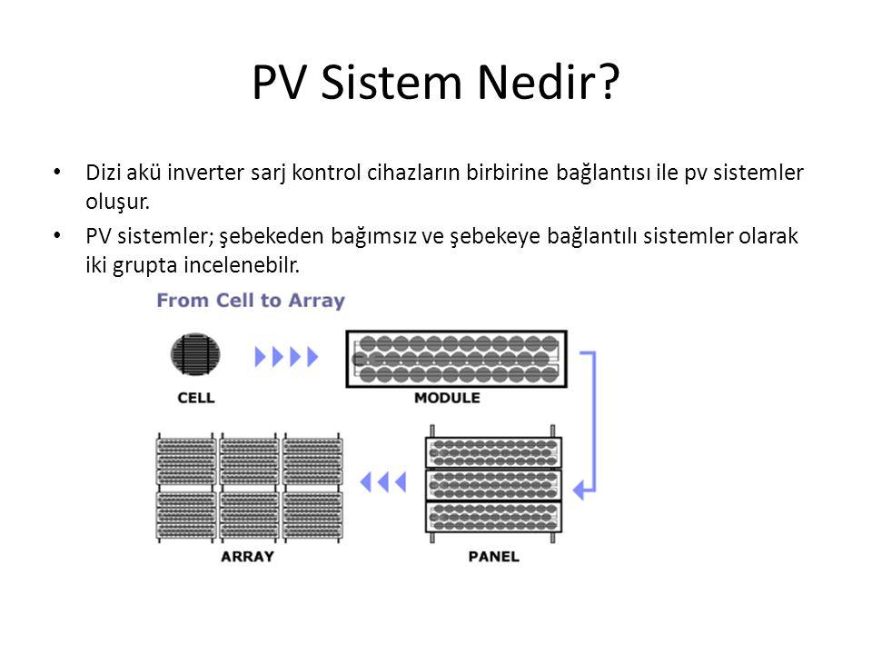 PV Sistem Nedir Dizi akü inverter sarj kontrol cihazların birbirine bağlantısı ile pv sistemler oluşur.