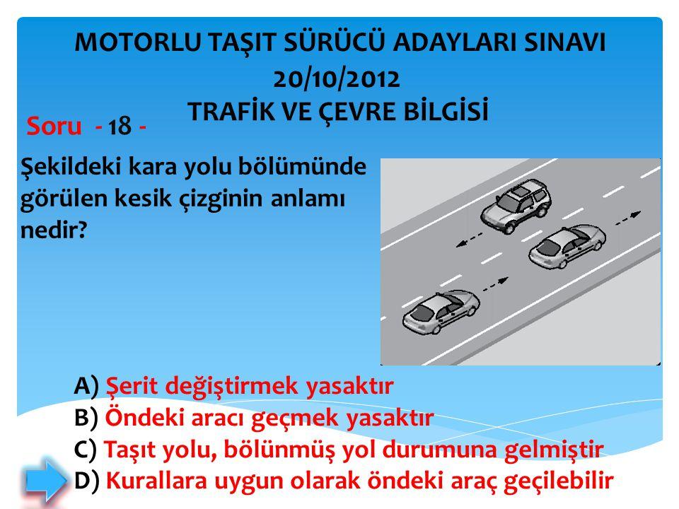 20/10/2012 MOTORLU TAŞIT SÜRÜCÜ ADAYLARI SINAVI