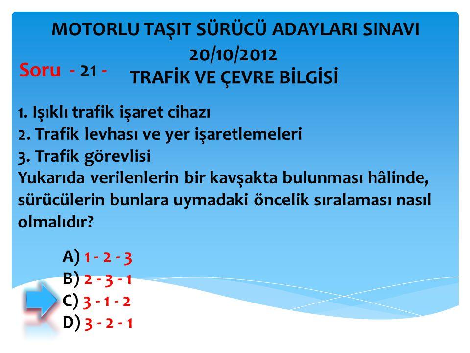 20/10/2012 Soru - 21 - MOTORLU TAŞIT SÜRÜCÜ ADAYLARI SINAVI