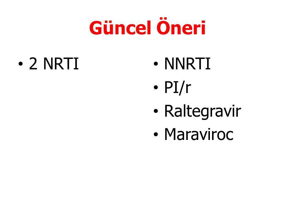 Güncel Öneri 2 NRTI NNRTI PI/r Raltegravir Maraviroc