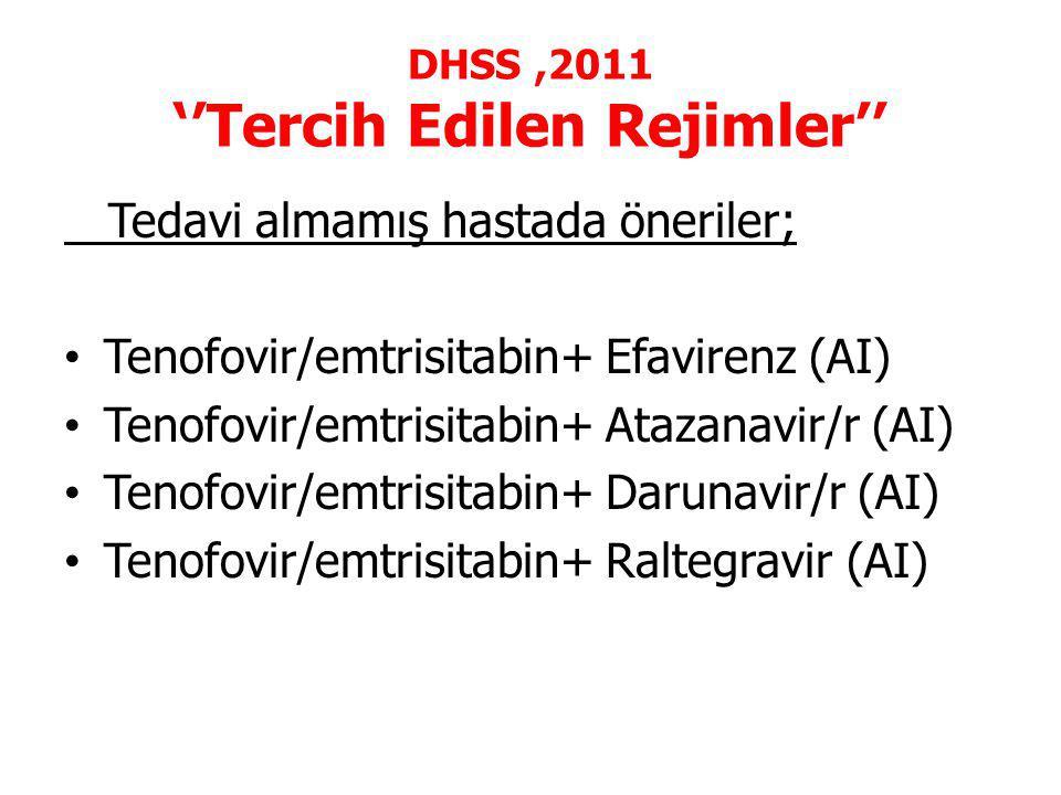 DHSS ,2011 ''Tercih Edilen Rejimler''