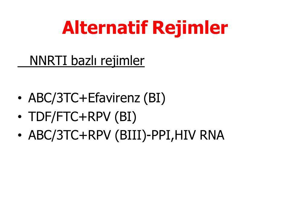 Alternatif Rejimler NNRTI bazlı rejimler ABC/3TC+Efavirenz (BI)