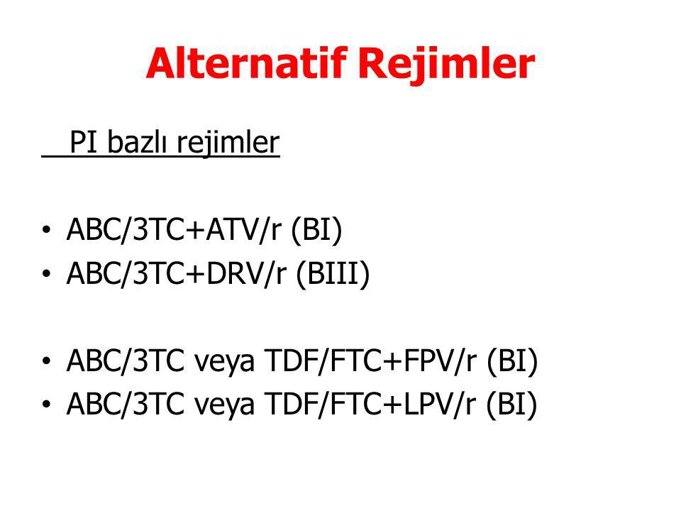 Alternatif Rejimler PI bazlı rejimler ABC/3TC+ATV/r (BI)