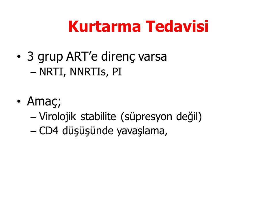 Kurtarma Tedavisi 3 grup ART'e direnç varsa Amaç; NRTI, NNRTIs, PI