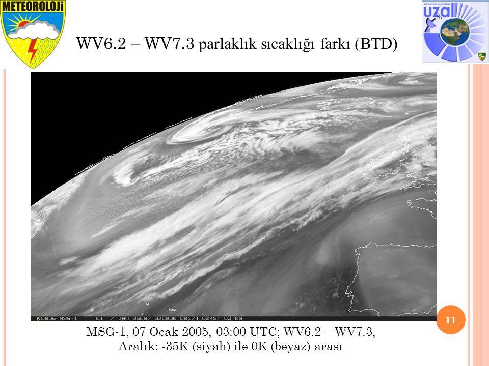 WV6.2 – WV7.3 parlaklık sıcaklığı farkı (BTD)