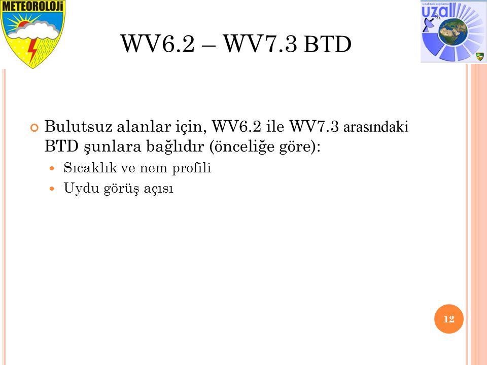WV6.2 – WV7.3 BTD Bulutsuz alanlar için, WV6.2 ile WV7.3 arasındaki BTD şunlara bağlıdır (önceliğe göre):