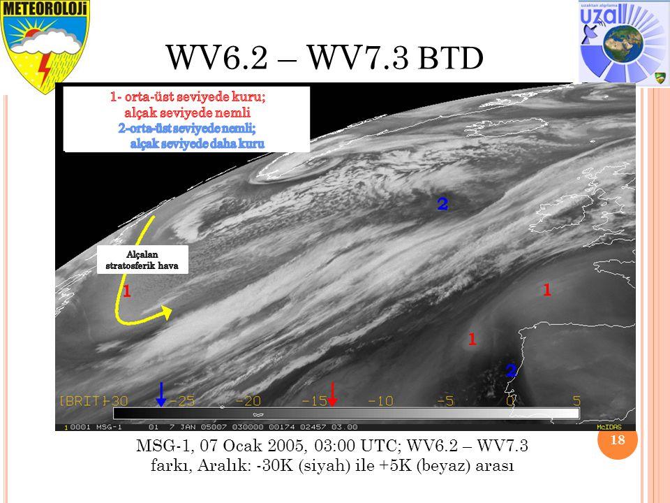 WV6.2 – WV7.3 BTD 1- orta-üst seviyede kuru; alçak seviyede nemli. 2-orta-üst seviyede nemli; alçak seviyede daha kuru.