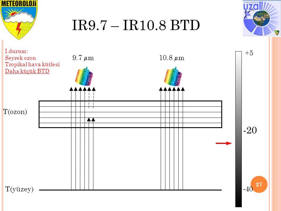 IR9.7 – IR10.8 BTD -20 +5 -40 9.7 m 10.8 m T(ozon) T(yüzey) I.durum: