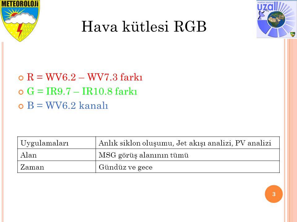 Hava kütlesi RGB R = WV6.2 – WV7.3 farkı G = IR9.7 – IR10.8 farkı