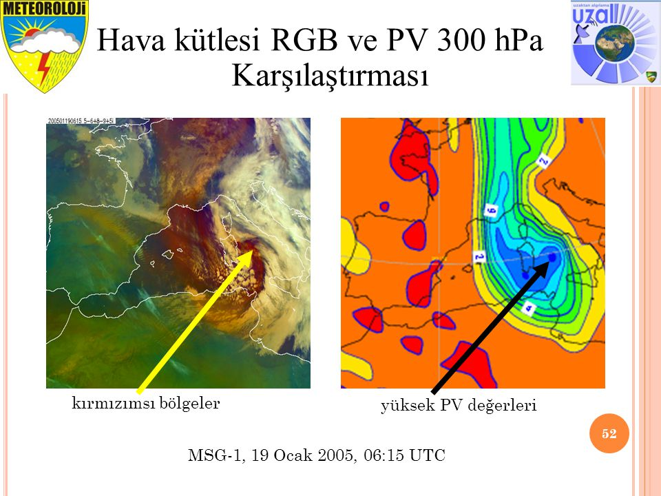 Hava kütlesi RGB ve PV 300 hPa Karşılaştırması