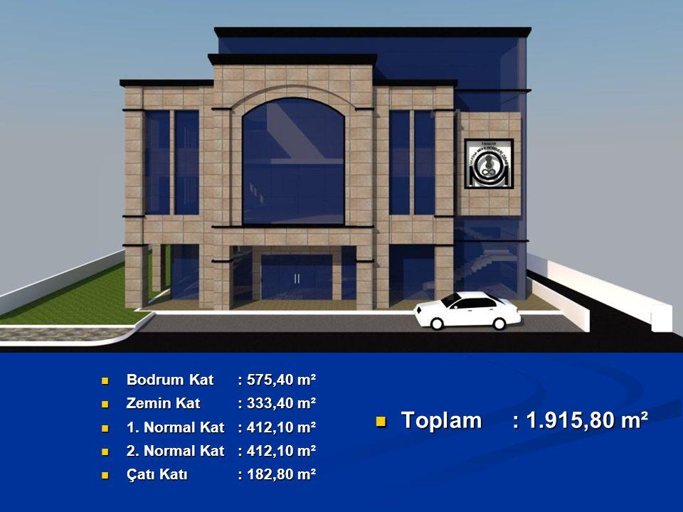 Toplam : 1.915,80 m² Bodrum Kat : 575,40 m² Zemin Kat : 333,40 m²