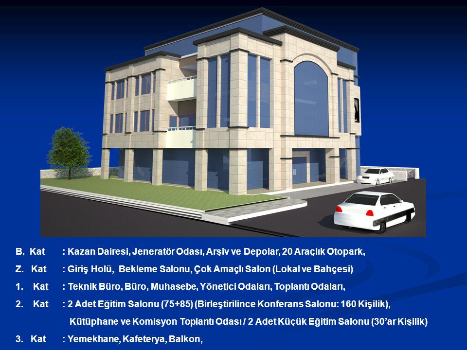 B. Kat : Kazan Dairesi, Jeneratör Odası, Arşiv ve Depolar, 20 Araçlık Otopark,