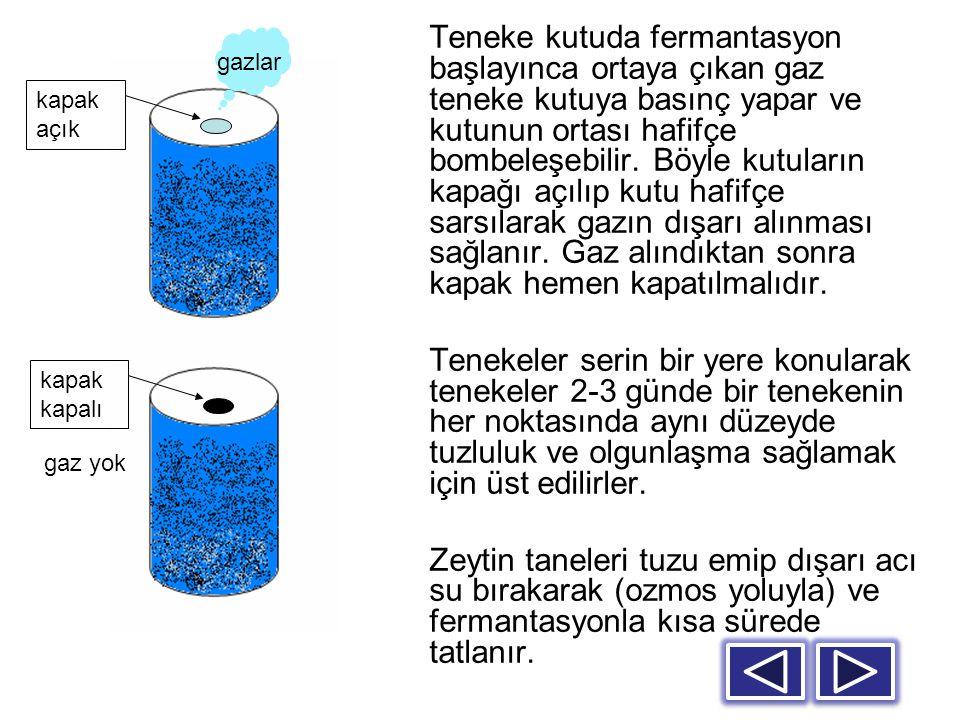 Teneke kutuda fermantasyon başlayınca ortaya çıkan gaz teneke kutuya basınç yapar ve kutunun ortası hafifçe bombeleşebilir. Böyle kutuların kapağı açılıp kutu hafifçe sarsılarak gazın dışarı alınması sağlanır. Gaz alındıktan sonra kapak hemen kapatılmalıdır.