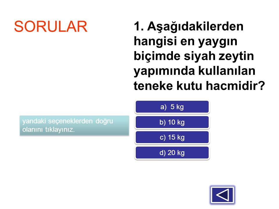 1. Aşağıdakilerden hangisi en yaygın biçimde siyah zeytin yapımında kullanılan teneke kutu hacmidir