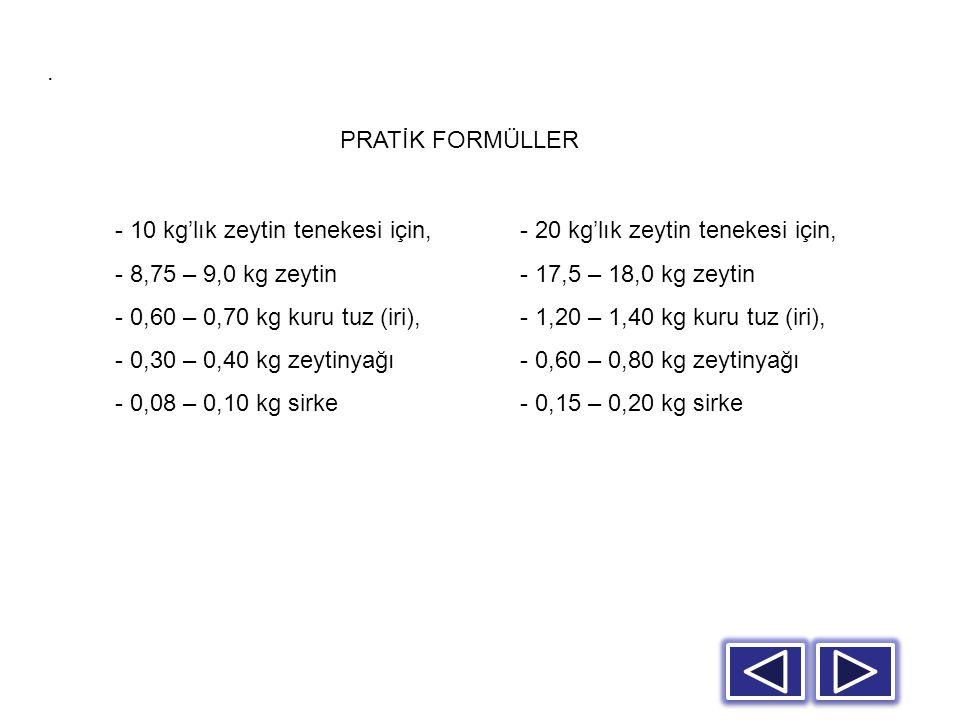 . PRATİK FORMÜLLER. - 10 kg'lık zeytin tenekesi için, 8,75 – 9,0 kg zeytin. 0,60 – 0,70 kg kuru tuz (iri),
