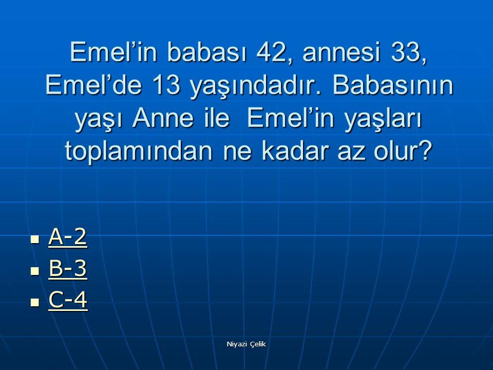 Emel'in babası 42, annesi 33, Emel'de 13 yaşındadır