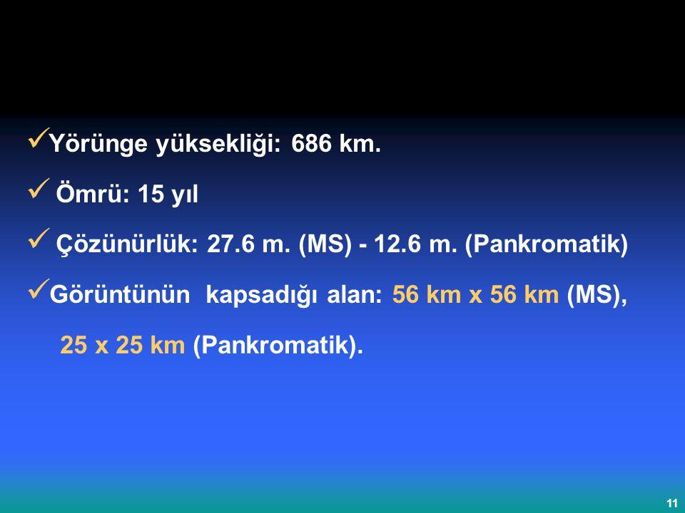 Yörünge yüksekliği: 686 km.