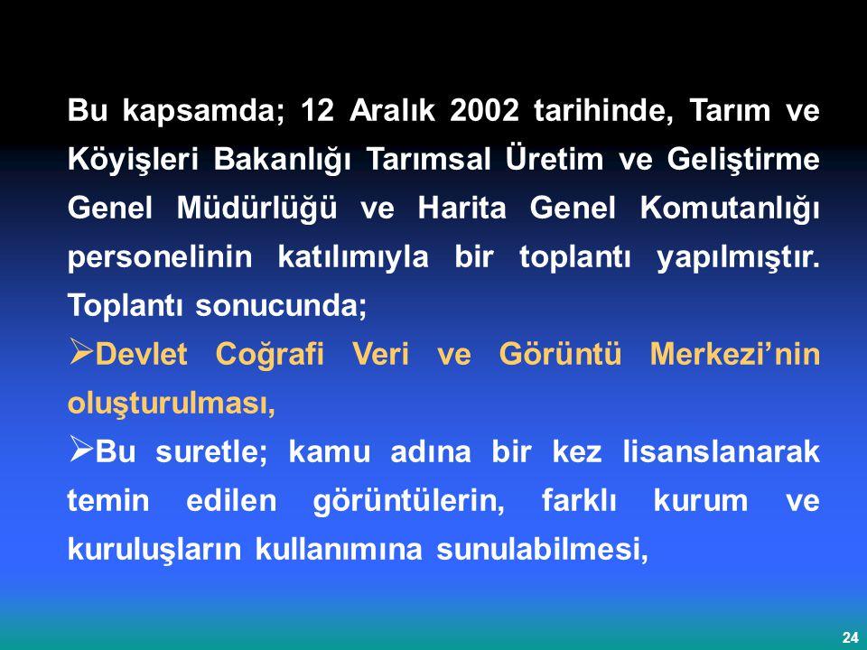 Bu kapsamda; 12 Aralık 2002 tarihinde, Tarım ve Köyişleri Bakanlığı Tarımsal Üretim ve Geliştirme Genel Müdürlüğü ve Harita Genel Komutanlığı personelinin katılımıyla bir toplantı yapılmıştır. Toplantı sonucunda;