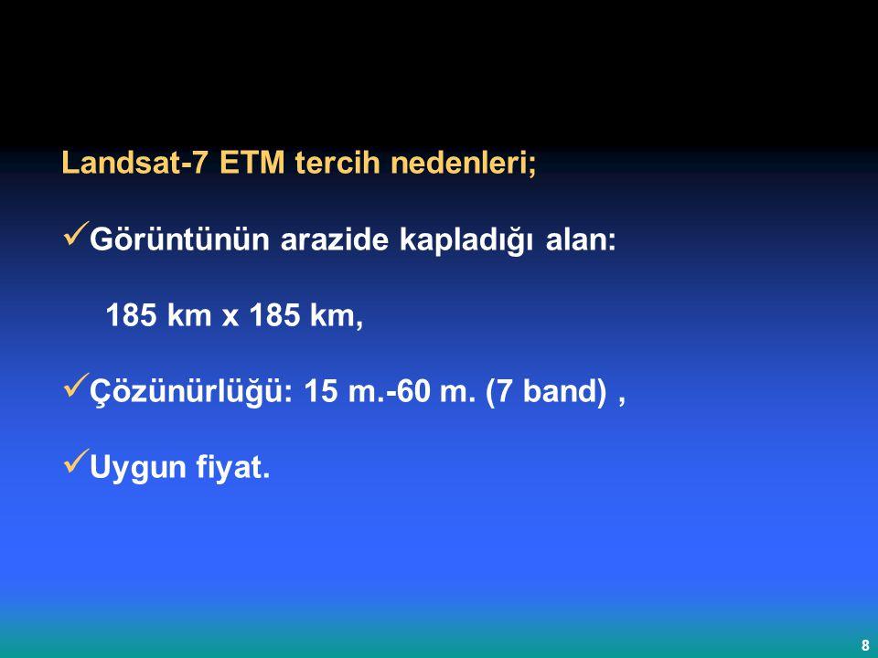 Landsat-7 ETM tercih nedenleri;
