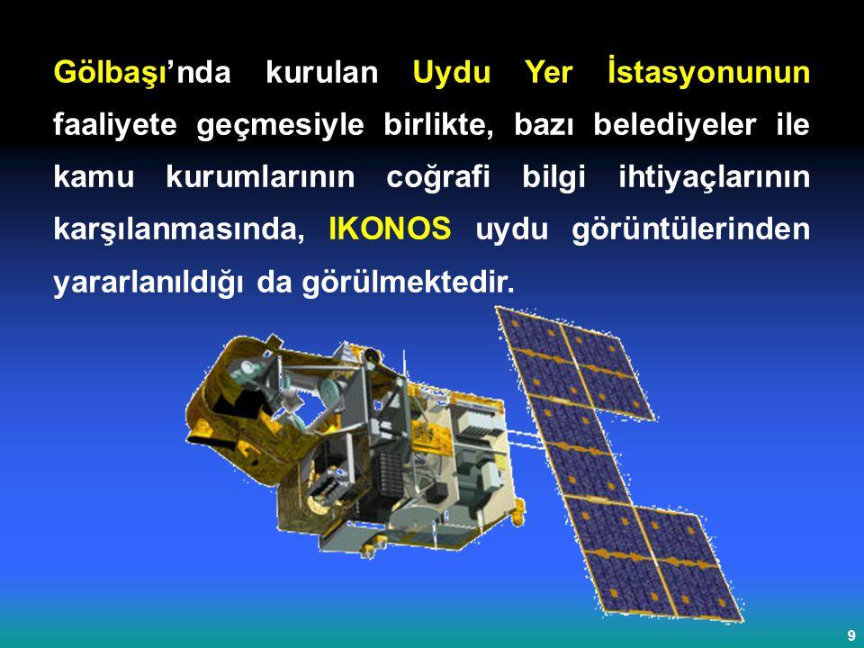 Gölbaşı'nda kurulan Uydu Yer İstasyonunun faaliyete geçmesiyle birlikte, bazı belediyeler ile kamu kurumlarının coğrafi bilgi ihtiyaçlarının karşılanmasında, IKONOS uydu görüntülerinden yararlanıldığı da görülmektedir.