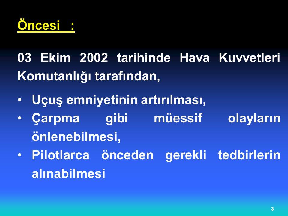 Öncesi : 03 Ekim 2002 tarihinde Hava Kuvvetleri Komutanlığı tarafından, Uçuş emniyetinin artırılması,