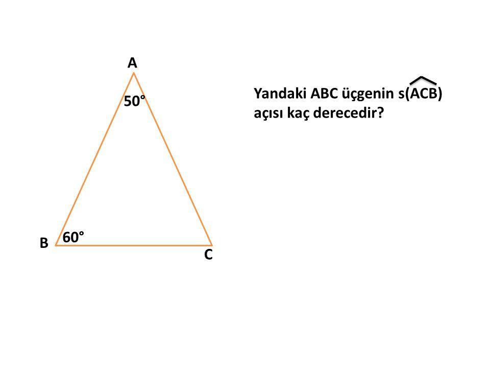 A Yandaki ABC üçgenin s(ACB) açısı kaç derecedir 50° 60° B C