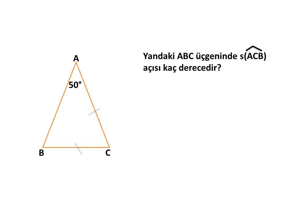 Yandaki ABC üçgeninde s(ACB) açısı kaç derecedir