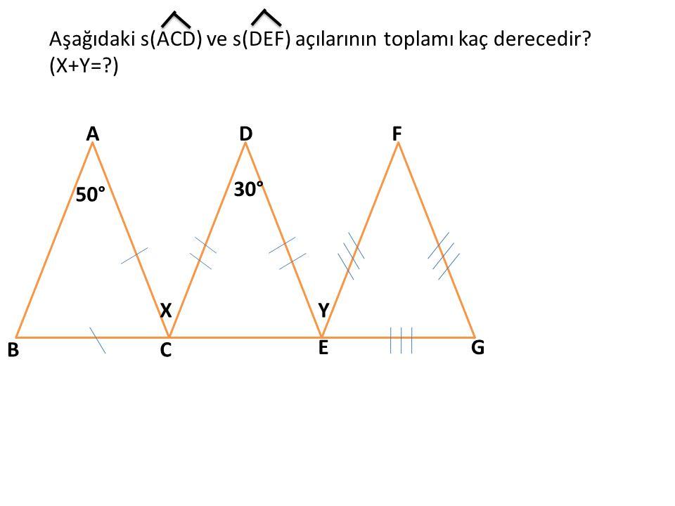 Aşağıdaki s(ACD) ve s(DEF) açılarının toplamı kaç derecedir (X+Y= )