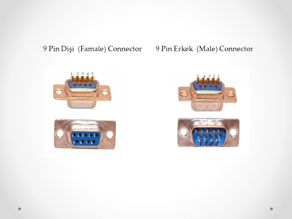 9 Pin Dişi (Famale) Connector 9 Pin Erkek (Male) Connector