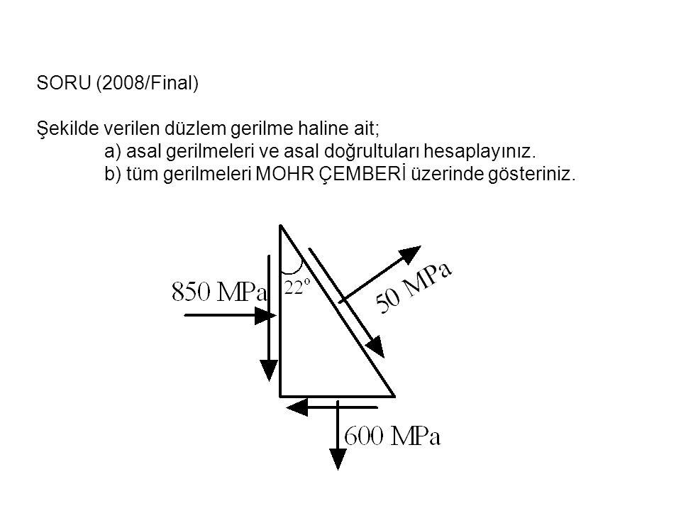 SORU (2008/Final) Şekilde verilen düzlem gerilme haline ait; a) asal gerilmeleri ve asal doğrultuları hesaplayınız.