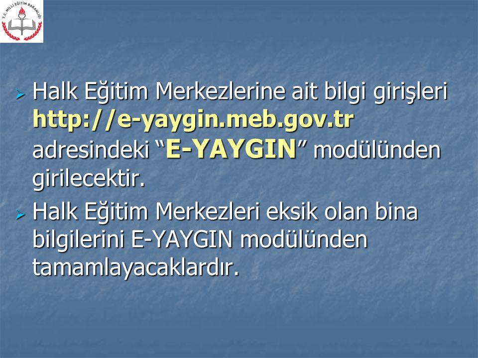 Halk Eğitim Merkezlerine ait bilgi girişleri http://e-yaygin. meb. gov