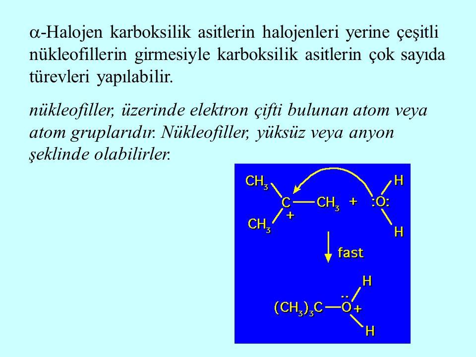 -Halojen karboksilik asitlerin halojenleri yerine çeşitli nükleofillerin girmesiyle karboksilik asitlerin çok sayıda türevleri yapılabilir.
