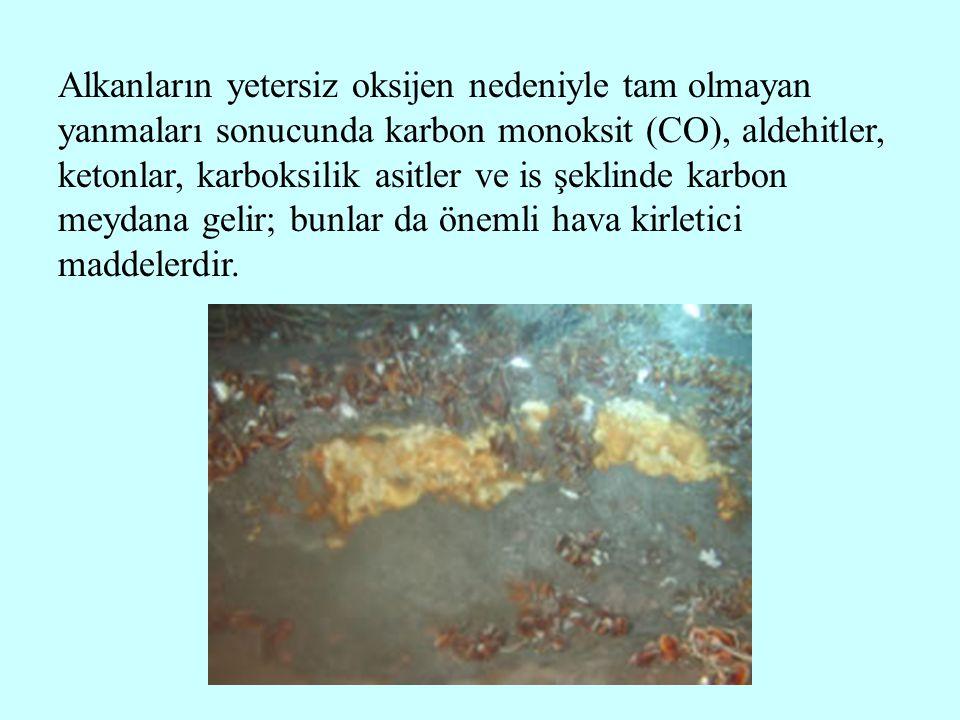 Alkanların yetersiz oksijen nedeniyle tam olmayan yanmaları sonucunda karbon monoksit (CO), aldehitler, ketonlar, karboksilik asitler ve is şeklinde karbon meydana gelir; bunlar da önemli hava kirletici maddelerdir.