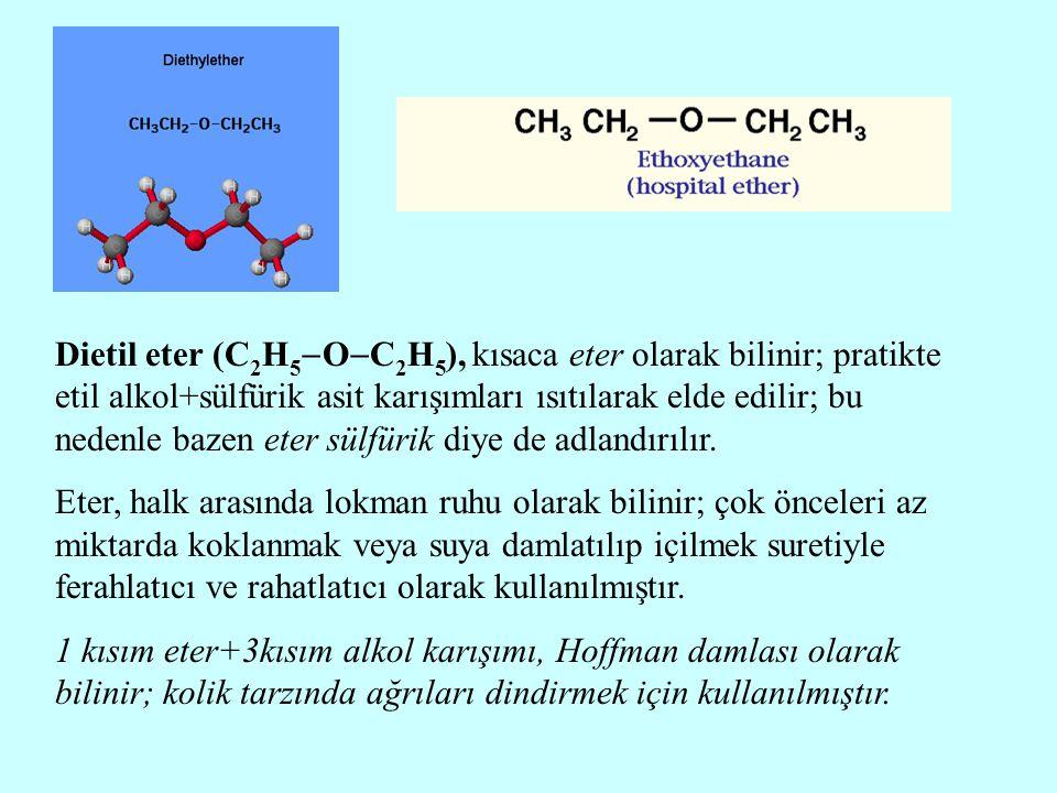 Dietil eter (C2H5OC2H5), kısaca eter olarak bilinir; pratikte etil alkol+sülfürik asit karışımları ısıtılarak elde edilir; bu nedenle bazen eter sülfürik diye de adlandırılır.