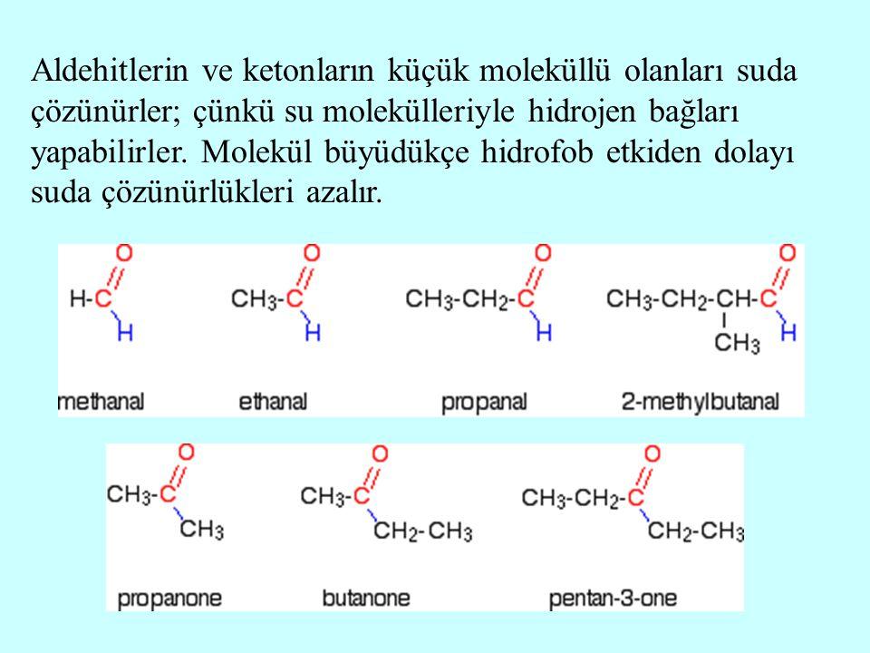 Aldehitlerin ve ketonların küçük moleküllü olanları suda çözünürler; çünkü su molekülleriyle hidrojen bağları yapabilirler.
