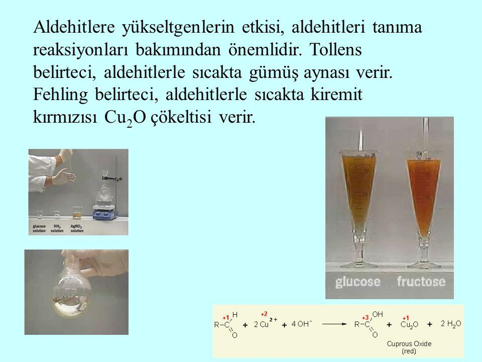 Aldehitlere yükseltgenlerin etkisi, aldehitleri tanıma reaksiyonları bakımından önemlidir.