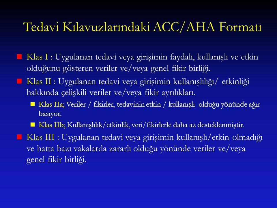 Tedavi Kılavuzlarındaki ACC/AHA Formatı