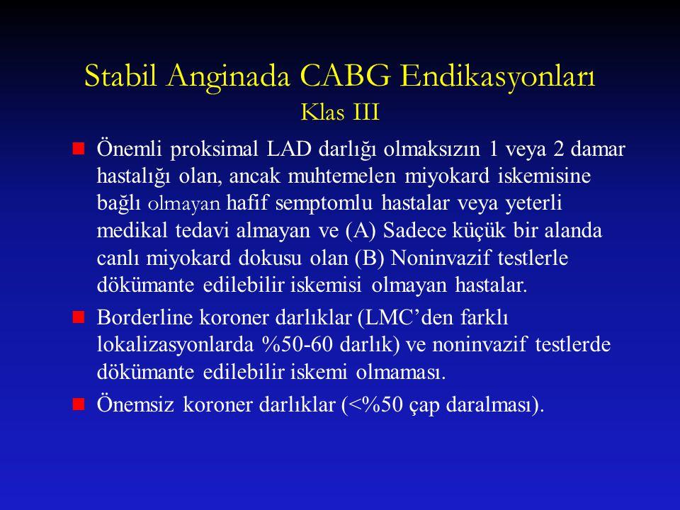 Stabil Anginada CABG Endikasyonları Klas III