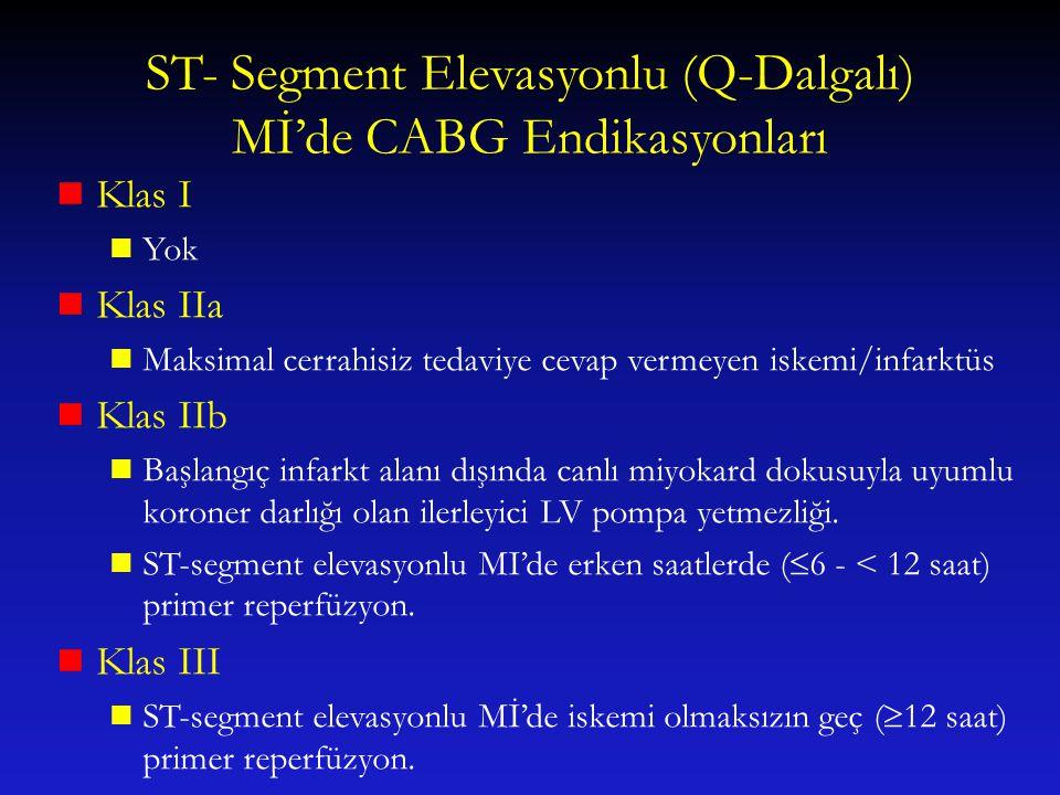 ST- Segment Elevasyonlu (Q-Dalgalı) Mİ'de CABG Endikasyonları