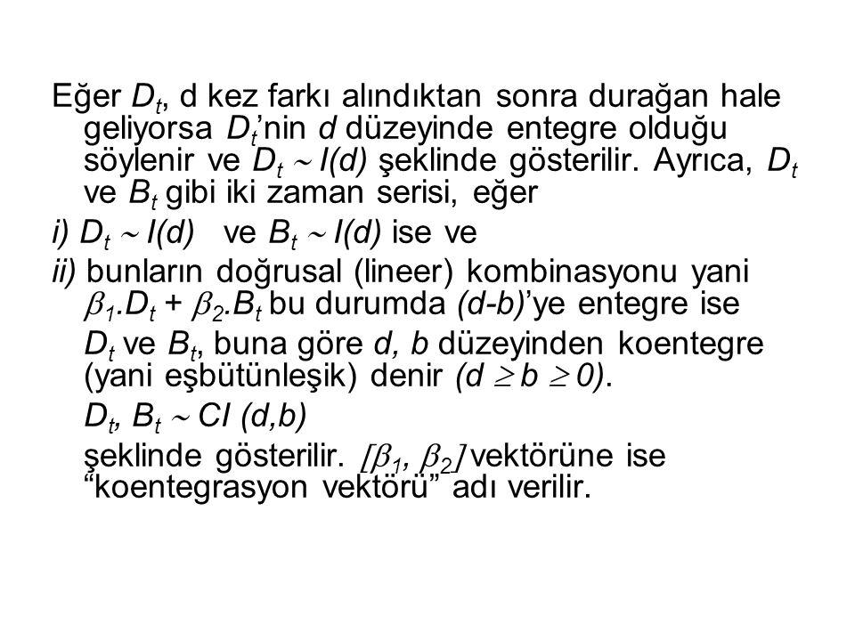 Eğer Dt, d kez farkı alındıktan sonra durağan hale geliyorsa Dt'nin d düzeyinde entegre olduğu söylenir ve Dt  I(d) şeklinde gösterilir. Ayrıca, Dt ve Bt gibi iki zaman serisi, eğer