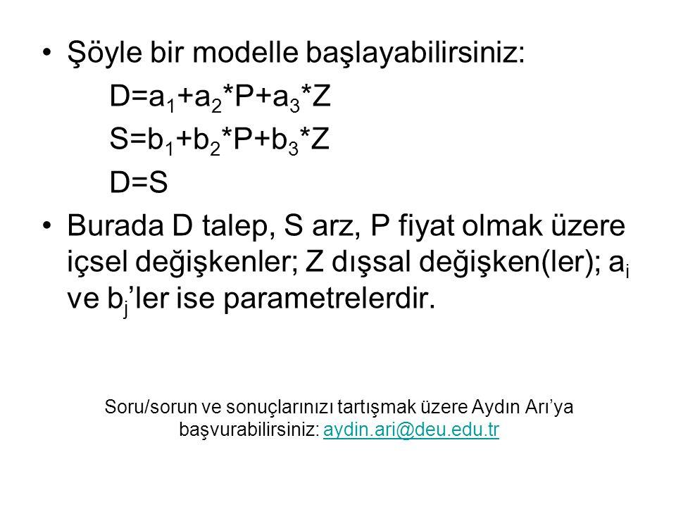 Şöyle bir modelle başlayabilirsiniz: D=a1+a2*P+a3*Z S=b1+b2*P+b3*Z D=S