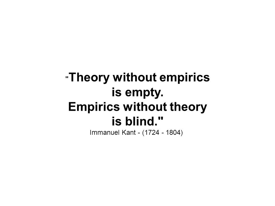 Theory without empirics is empty. Empirics without theory is blind.