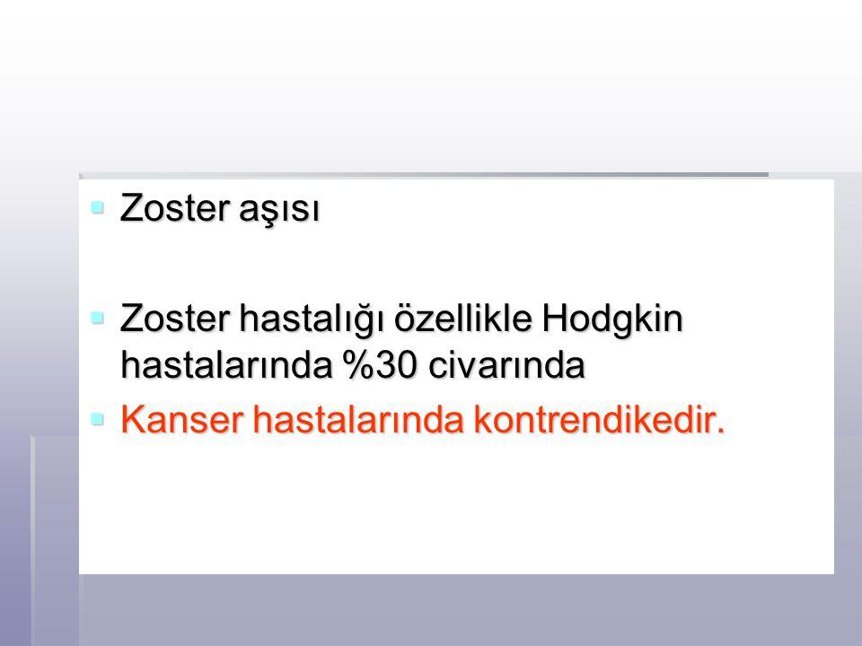 Zoster aşısı Zoster hastalığı özellikle Hodgkin hastalarında %30 civarında.