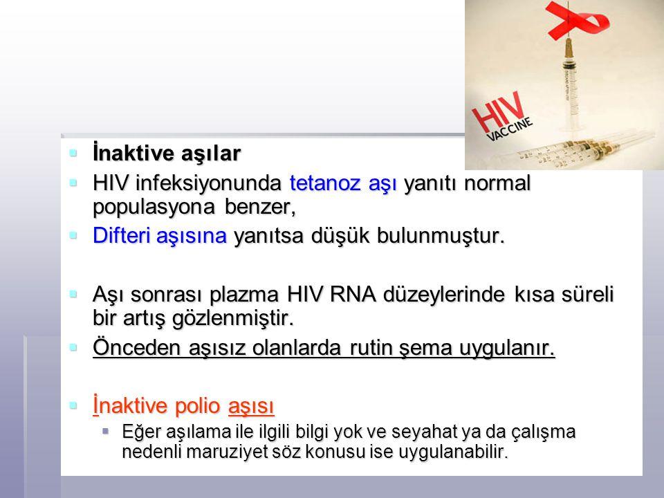HIV infeksiyonunda tetanoz aşı yanıtı normal populasyona benzer,