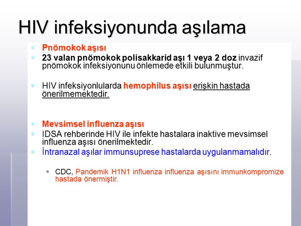 HIV infeksiyonunda aşılama