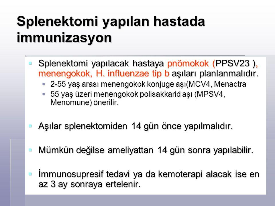 Splenektomi yapılan hastada immunizasyon