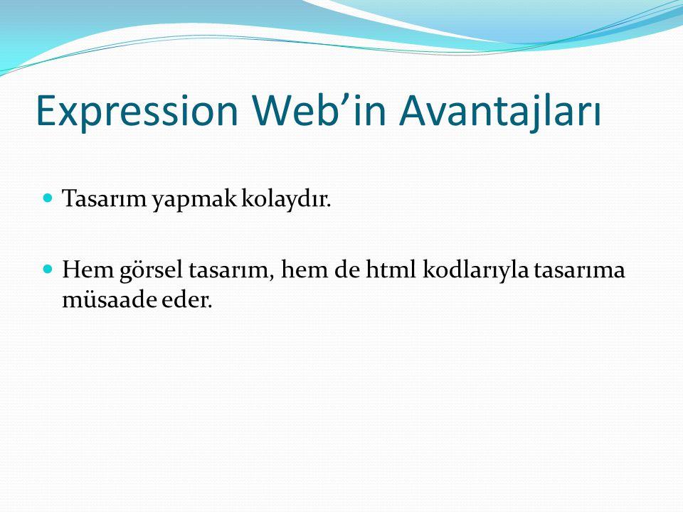 Expression Web'in Avantajları
