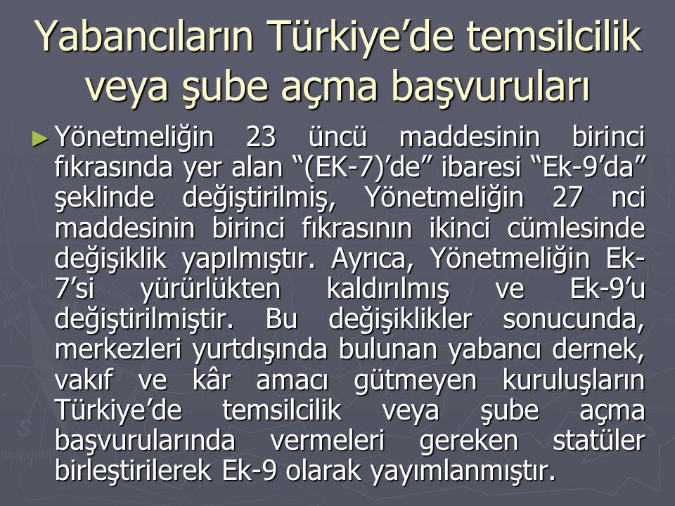 Yabancıların Türkiye'de temsilcilik veya şube açma başvuruları